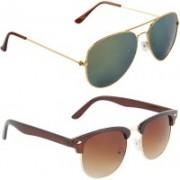 Zyaden Aviator, Oval Sunglasses(Green, Brown)
