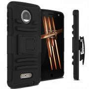 Funda Case con Clip para Motorola Moto Z Play Triple Protector de Uso Rudo Anti Shock-Negro