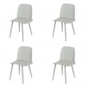 QAZQA Set 4 sedie sala da pranzo plastica grigio chiaro con gambe in acciaio - NADA