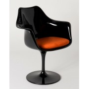 Replica Eero Saarinen Tulip Armchair-Black Fibreglass/Orange cushion