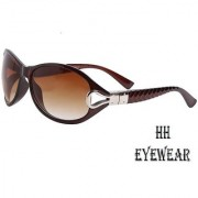 HH (CLASICBRWN) Brown Oval Sunglasses For Women