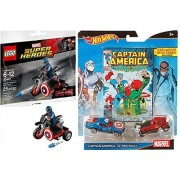 Lego Super Heroes Captain America Motorcycle & Mini Figure (30447) & Hot Wheels Captain America VS The Red Skull Comic Car Set