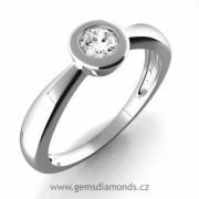 Luxusní zásnbuní prsten s diamantem Evelina, bílé zlato