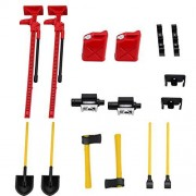 Cecileie 7Pcs 1/10 Scale Plastic Accessory Tools Set For SCX10 D90 RC Rock Crawler Truck Remote Control Toy Accessories
