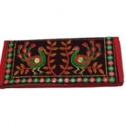 Metalcrafts embroidered ladies pouch multi color Rajasthani bird design 28 cm.