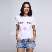 Vrouwen Grote maten / Sexy / Vintage Alle seizoenen T-shirt Print Ronde hals Korte mouw Wit Katoen / Acryl / Polyester / Nylon / Spandex