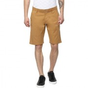 Urbano Fashion Men's Solid Khaki Cotton Chino Shorts (Size : 28)