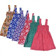 IndiWeaves Baby Girls Cotton Sleevless Printed Frock (Pack of 6)