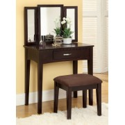 3 pc potterville espresso finish wood bedroom make up vanity sitting table set with tri fold mirror