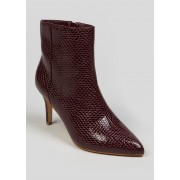 Matalan Wide Fit Point Boots in Size 6, Burgundy