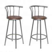 vidaXL Бар стол от дърво и стомана – 2 бр.