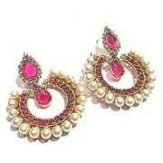 Dark pink pearl tilak polki earrings
