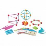 Set constructie Forme 3D, 80 betisoare, 40 conectori, 15 carduri fata-verso cu activitati