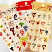 HEMALL 4 Sheets Kawaii Cartoon 3D Bubble Stickers DIY Diary Scrapbook Notebook Album Cup Phone Decor Sticker Stationery School Supplies Q322