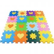 Tapete Eva Soft Bebê Infantil 15x15cm Kit 16 peças com peças destacáveis