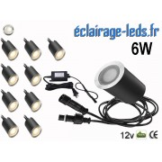 Kit 10 spots LED encastrables Mur et Sol 6w blanc naturel naturel 12v ref sms-004