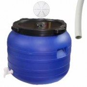 Pachet - Butoi 100L cu robinet Plastic alimentar Bidon cu capac prin infiletare + Presa rotunda pentru butoi 45cm + Teav