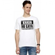DOUBLE F ROUND NECK HALF SLEEVE WHITE COLOR LO KHADA HO GAYA MAIN APNE PAIRON PE PRINTED T-SHIRTS