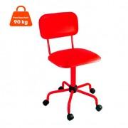 Cadeira de Escritório Secretária Color Pistão Fixo Corano Vermelho