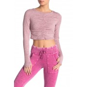 Free People Swerve Long Sleeve Ruched Crop Top MAUVE