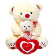 Cute Peach Mother Baby Love Teddy Bear