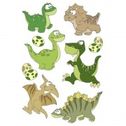Geen 9x Dinosaurussen met wiebeloogjes stickertjes voor kinderen