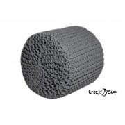 Pletený puf CRAZYSHOP CYLINDER, tmavě šedá (ručně pletený)
