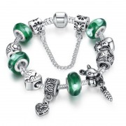 European Style 925 Silver Bracelet With Friendship Charm Murano Bead - Green - 20cm