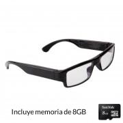 Cámara Oculta En Forma de Lentes Hipster 720P-Negro