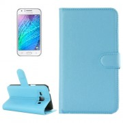 Samsung Galaxy J1 Case, Litchi Texture Horizontal Flip Leather Case with Holder & Card Slots & Wallet(Blue)