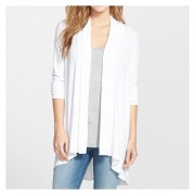 E-Thinker Camisa Pull-over Manga Larga Sólido Color Casual Mujer-Blanco
