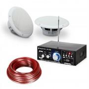 "Speaker Sound Set Amplificatore HiFi per Bagno e Terrazza 5"" 4pz. Impermeabile"