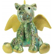 Pluche groene glimmende draak knuffel 23 cm - Draken fantasiedieren knuffels - Speelgoed voor kinderen
