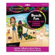 Melissa & Doug Scratch Art Scratchin' Fashion Sticker Scenes Beach Kit - 50+ Stickers