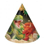 Dinosaurus kinder feesthoedjes 8 stuks