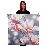 Ölgemälde Blumenzweig, 100% handgemaltes Wandbild Gemälde XL, 90x90cm ~ Variantenangebot