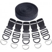DIY Crafts Buckles and Tri-Glide Slides and D Rings with Nylon Webbing Straps(Pack of 41 pcs) Luggage Strap(Black)