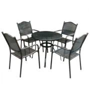 Set mobiler gradina/terasa, masa rotunda si 4 scaune, aluminiu, culoare bronz, masa 80cm, Mossel, MN0195306, Hascevher