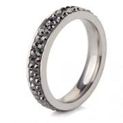 Szürke kristályos, 2 soros nemesacél gyűrű