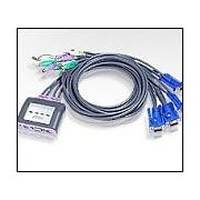 KVM SWITCH, ATEN CS64A, 4х1, автом., PS2 + audio, включени кабели