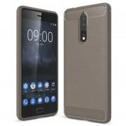 Nokia 8 Brushed TPU Case - Carbon Fiber - Grey