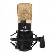 MIC 900B USB Microfone Condensador Estúdio Preto Ouro