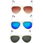 Spexra Aviator Sunglasses(Black, Yellow, Brown)