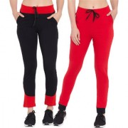 Cliths Women's Black and Red Track Pants for Women| Tights For Yoga Gym and Active Sports Fitness-Pack Of 2