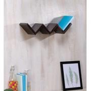 Onlineshoppee Wooden Handicraft Black Designer W Shape Wooden Wall Shelf