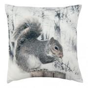 Clayre & Eef KG020.006 Textil párna 40x40cm,szürke-fehér,mókussal
