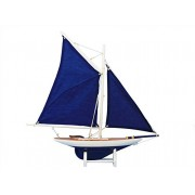 "America's Cup Contender Dark Blue 18"" - Blue Sails - Wood Yacht Model - Model Sailing Boat - Model Yacht - Nautical Home Decoration - Wood Sailboat Model - Not A Model Ship Kit"