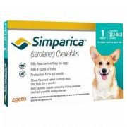 Simparica Flea & Tick Chewables For Dogs 22.1-44 Lbs (Blue) 6 Pack