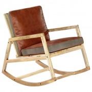 vidaXL Люлеещ се стол, кафяв, естествена кожа, мангово дърво масив