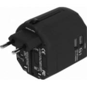 Adaptor incarcator convertor priza universal de calatorie compact cu 2 x USB All in One pentru EU USA UK negru
